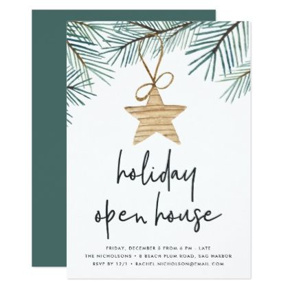 Pine Boughs Holiday Open House Invitation Open house invitation