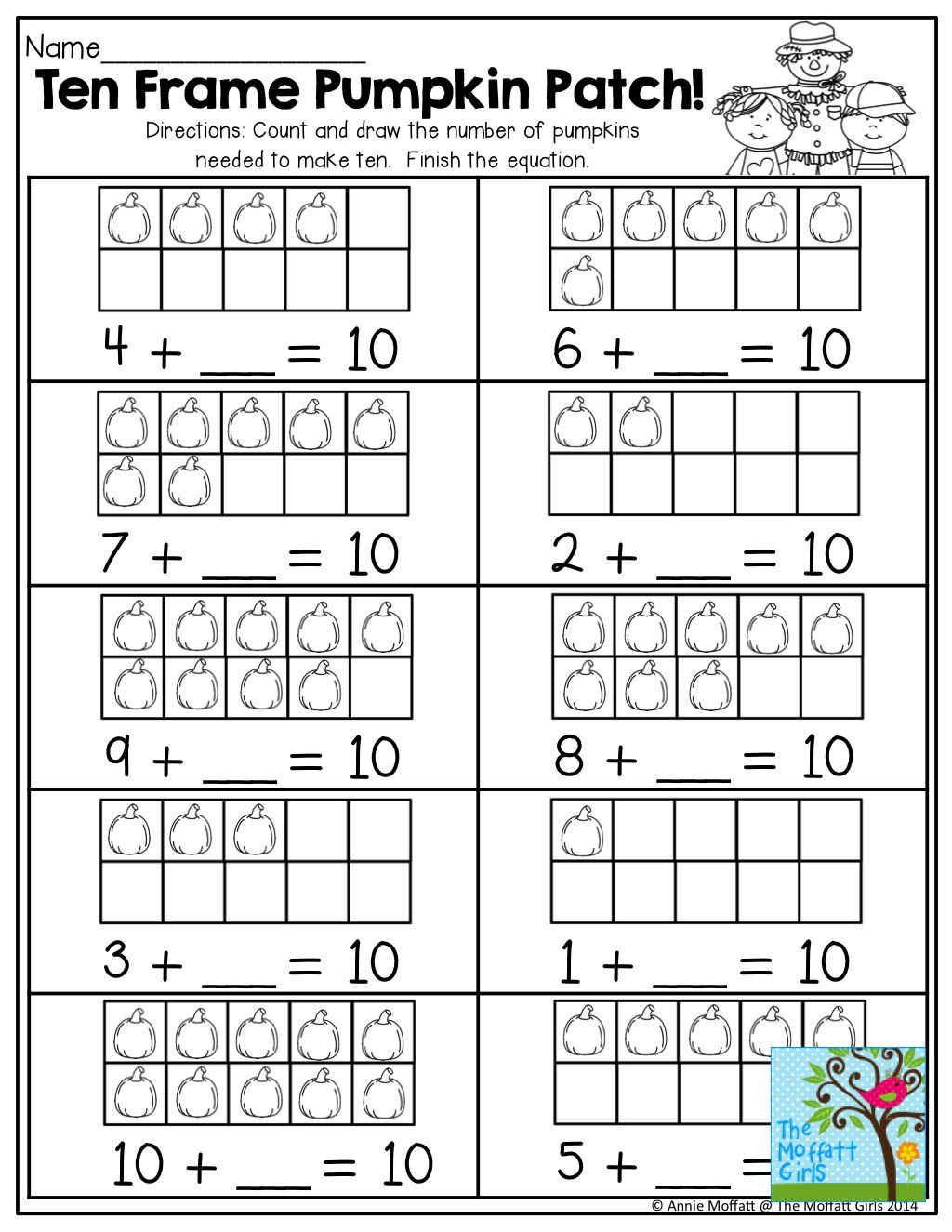 Ten Frame Pumpkin Patch Math Activities Elementary Math Worksheets Teaching Math