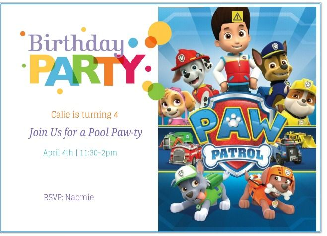 Terrible image with free printable paw patrol birthday invitations