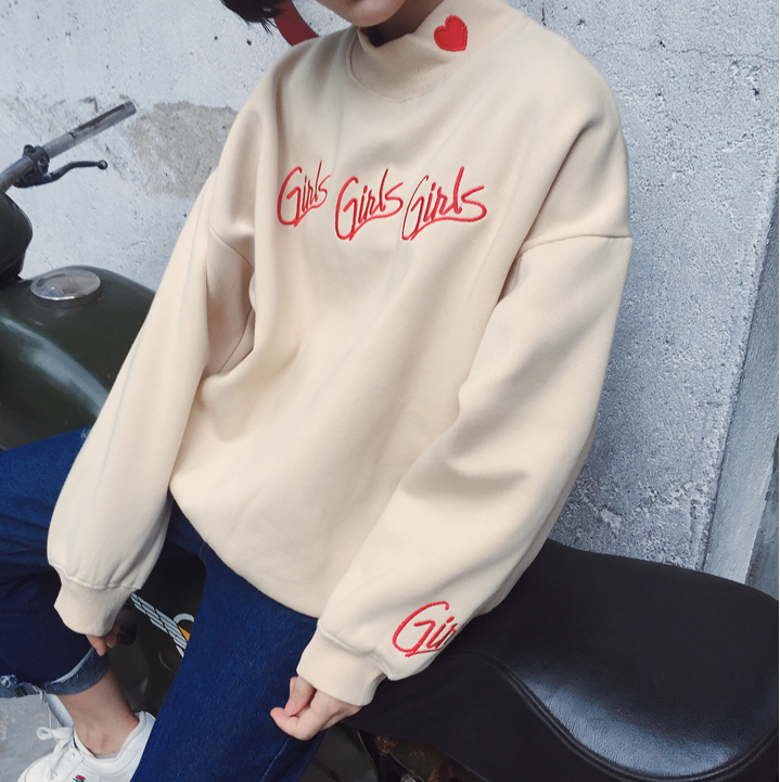 5766842671 Letter Embroidery Sweatshirt   Oversized Sweater   Loose Sweater   Embroidered  Sweater   Girls Girls Girls   Street Fashion   Korean Fashion   Kfashion