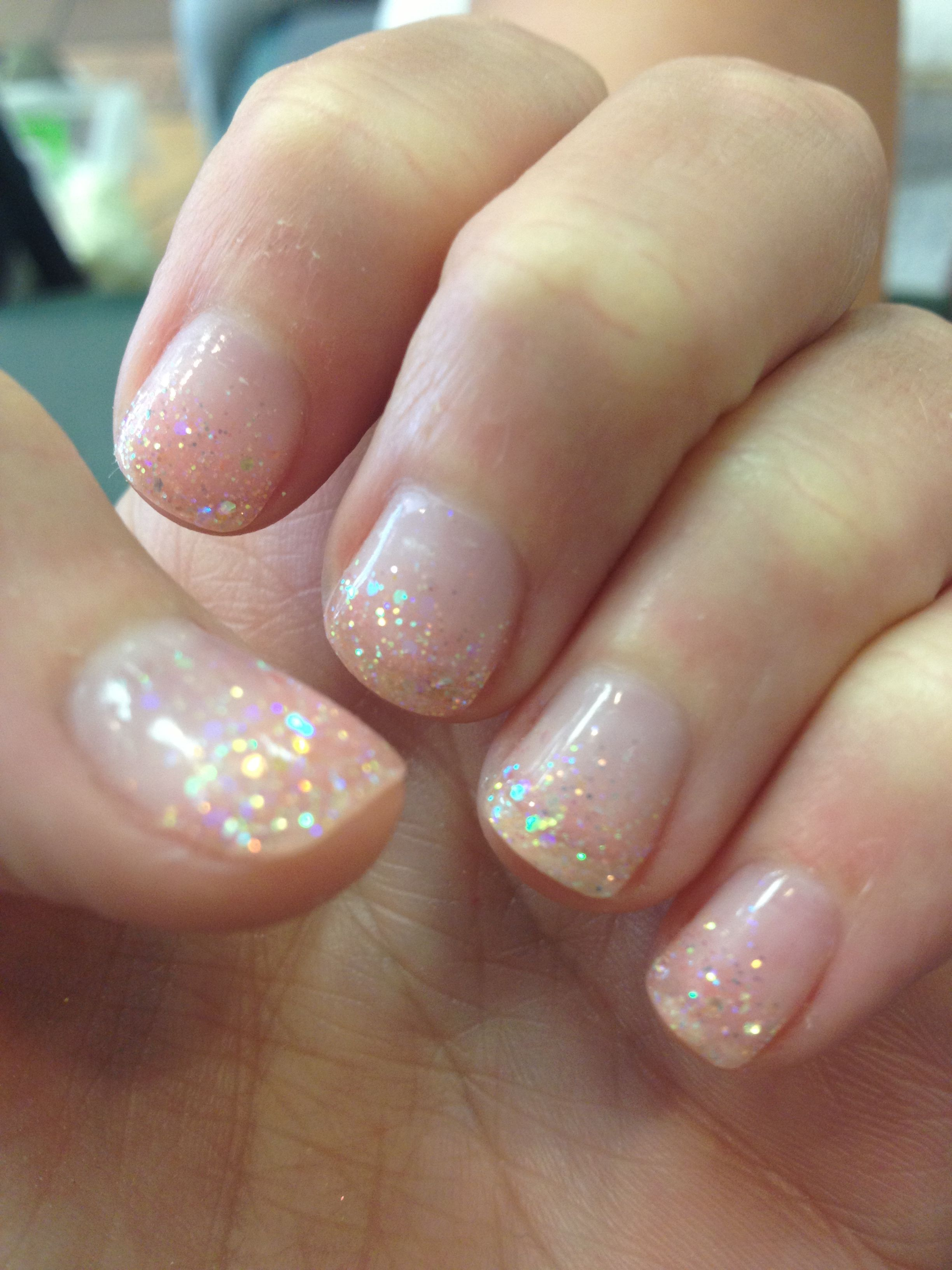 Clear Gel manicure with pink glitter. Nice clean look for all ...