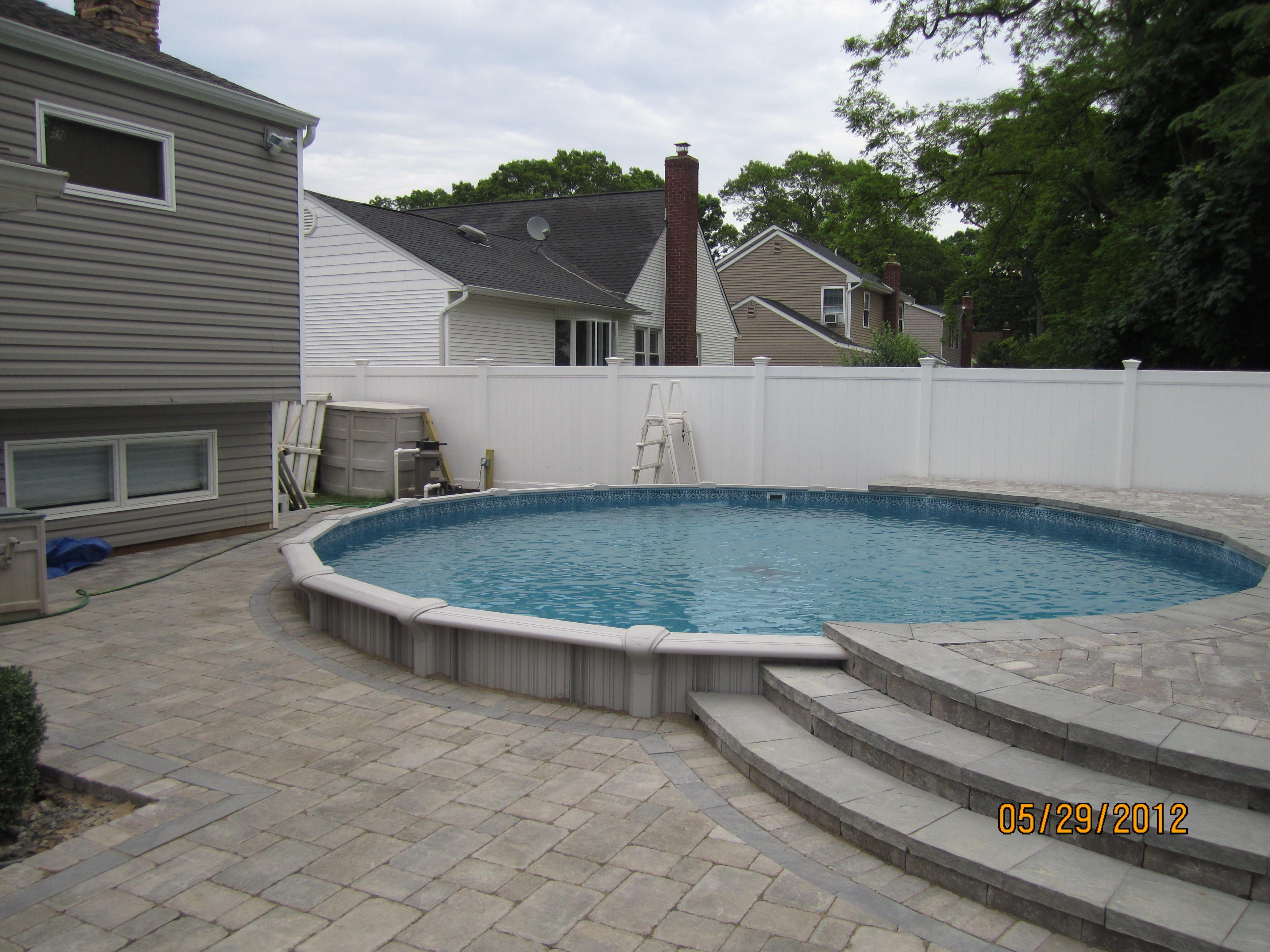 24 Semi Inground Extruder With Pavers Pool Deck Tile Pool