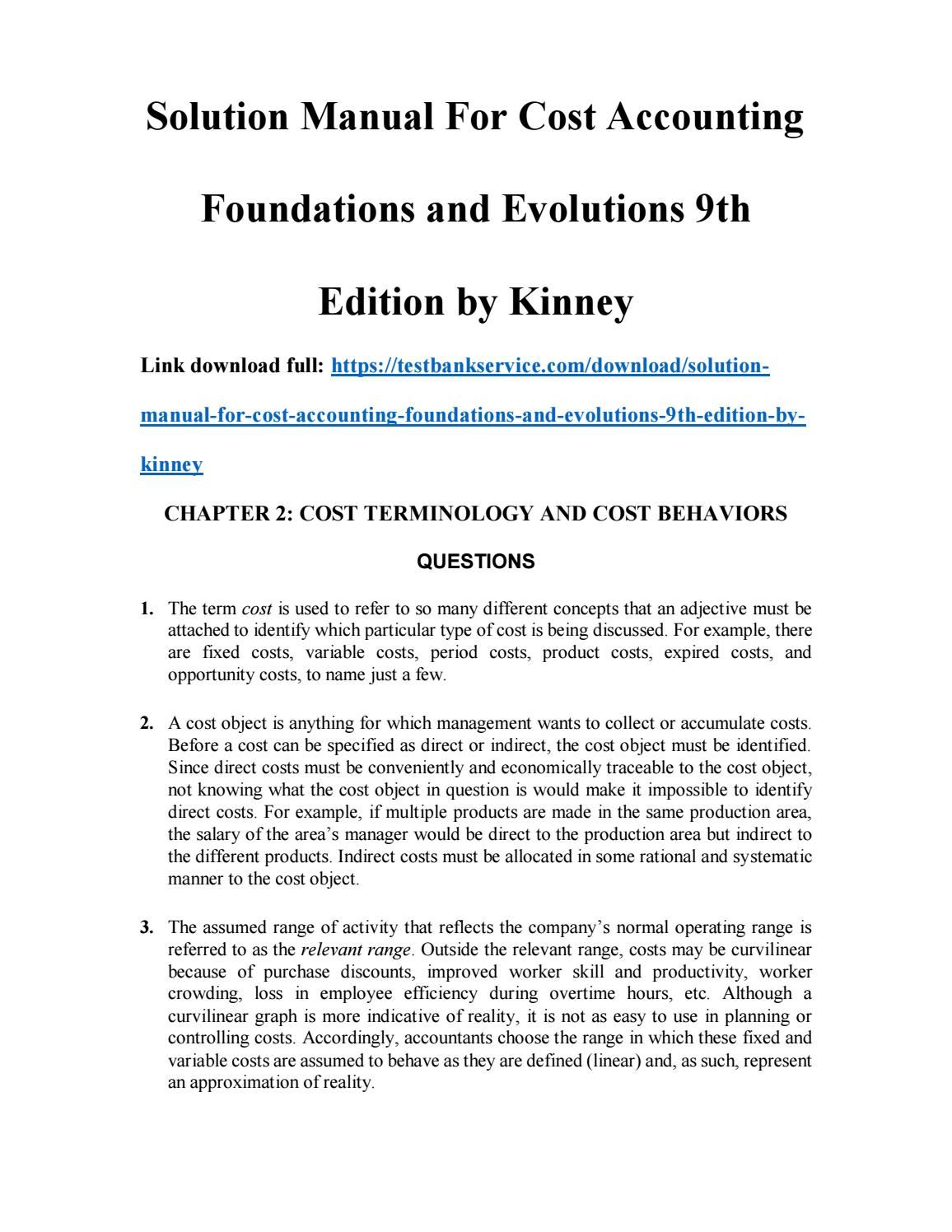 Solution Manual for Cost Accounting Foundations and Evolutions 9th Edition  by Kinney