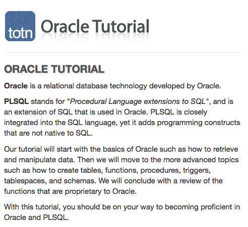 Learn Oracle Plsql With Step By Step Tutorial And References