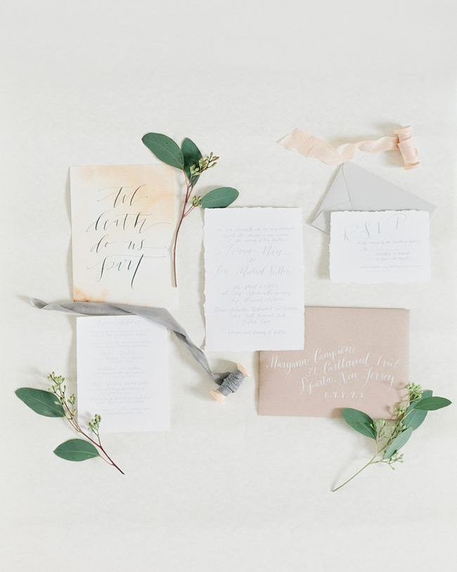 Inspired by the muted woodsy colours of fall this stationery suite is totally to die for. Found on @coastalbride | Photographer: @debraeby | Calligraphy and Invitation Suite: @danicacindellbutler | Hand Dyed Silk Ribbon: @fleuropean by aislesociety