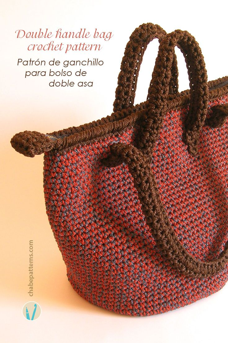 Crochet pattern for bag with double handles, photo tutorial and row ...