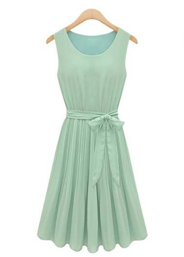 Round Neck Sleeveless Chiffon Pleated Dress in mint! This could work as my moh dress??