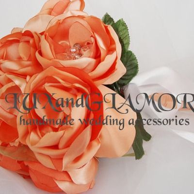 Handmade wedding bouquet, bridal bouquet with peach satin flowers