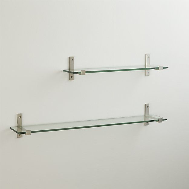 Styles 36 Glass Shelf With Brushed Silver Brackets Glass Shelves Glass Wall Shelves Glass Shelf Brackets