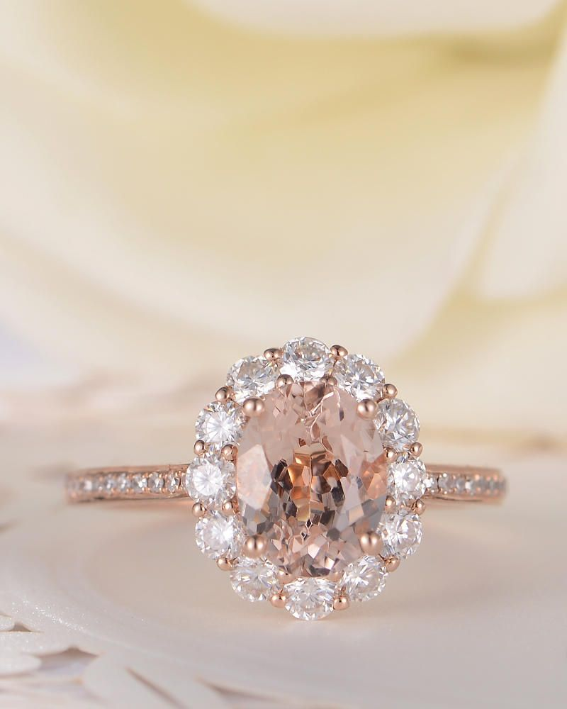 af19ad7b11f8f Morganite Engagement Ring Rose Gold Oval Cut Morganite Antique ...