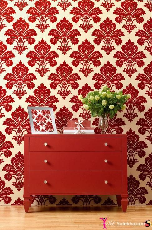 Red Off White Baroque Pattern Wall Covering Gives A Unique Look To The Wall And Also Compliment To The Desk Put In F Red Interior Design Red Wallpaper Decor
