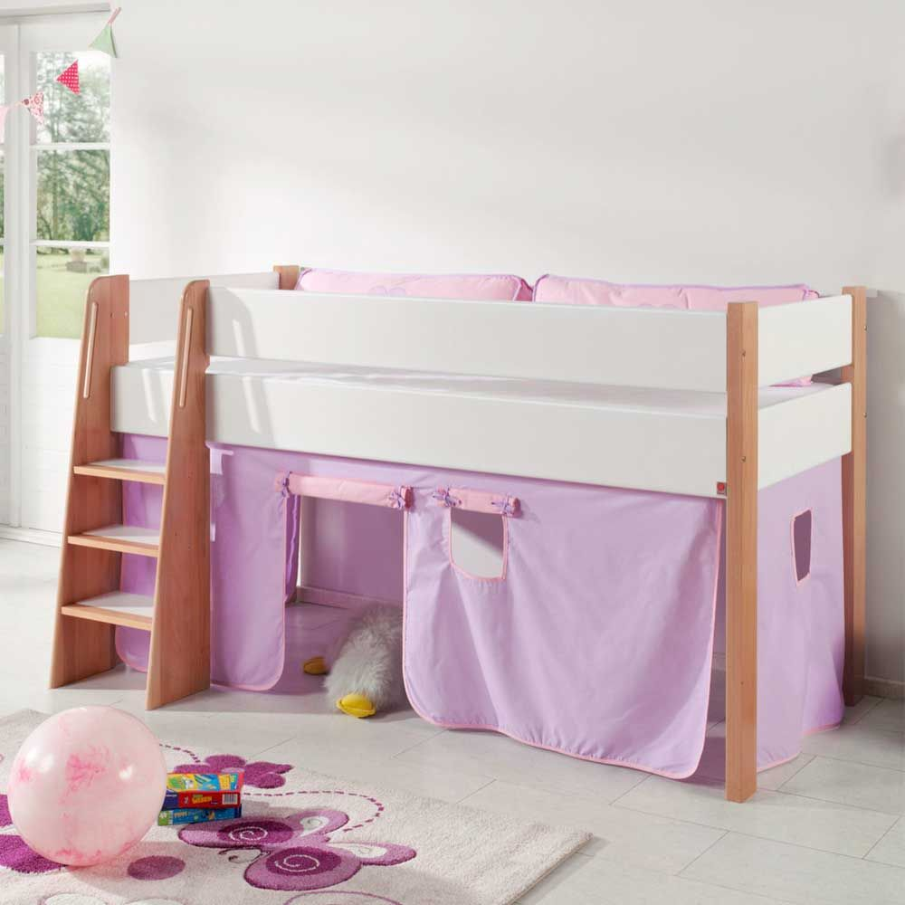 Madchen Kinderbett Mit Vorhang In Rosa Halbhoch Jetzt Bestellen Unter Https Moebel Ladendirekt De Kinderzimmer Betten Ki Madchen Bett Kinder Bett Kinderbett