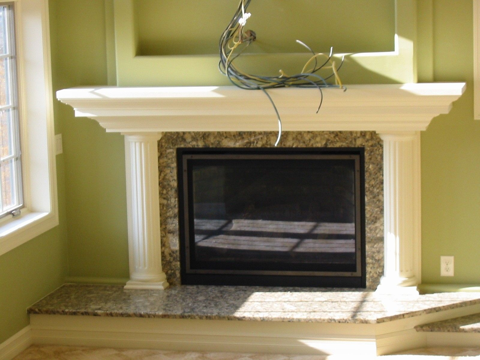 Custom Made Custom Fire Place Mantle Like The Mantel The Columns Not So Much Fireplace Fireplace Mantels Mantle