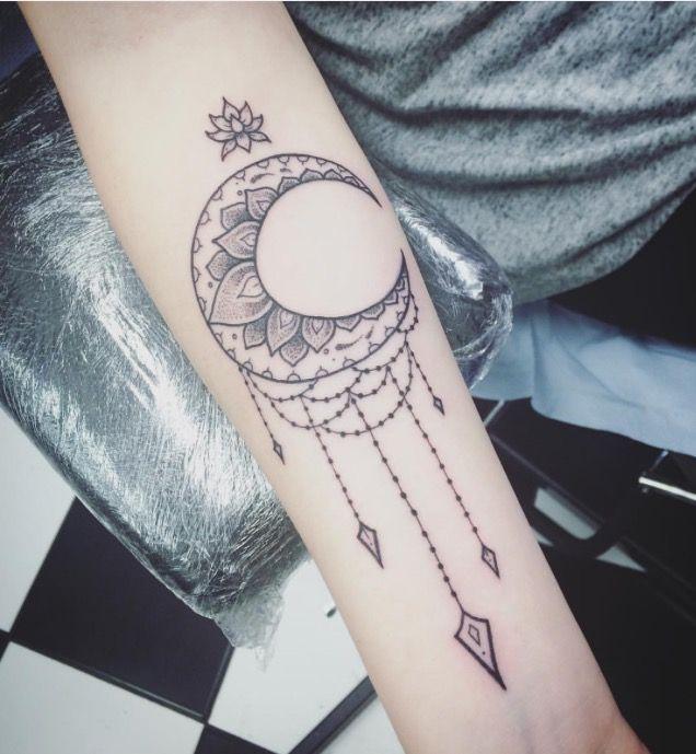 Mandala Crescent Moon And Lotus Flower Moon Tattoo Tattoos And Piercings Tattoos