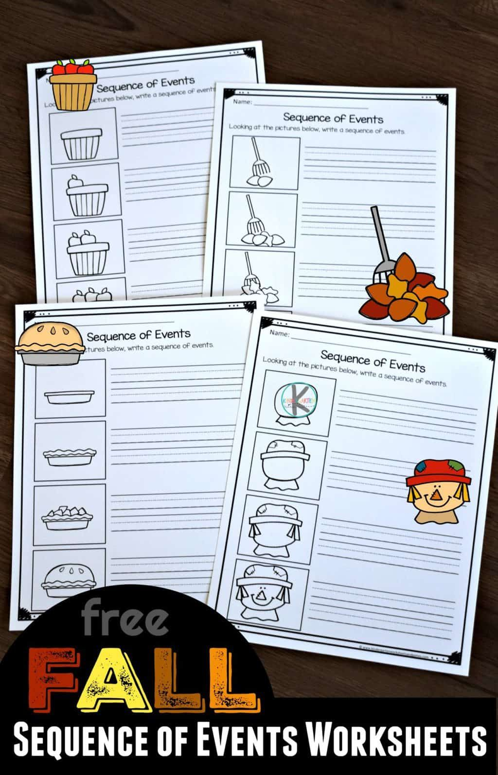 Free Fall Sequence Of Events Worksheets Two Different Activities To Help Kid Sequence Of Events Worksheets Sequencing Worksheets Fall Kindergarten Activities