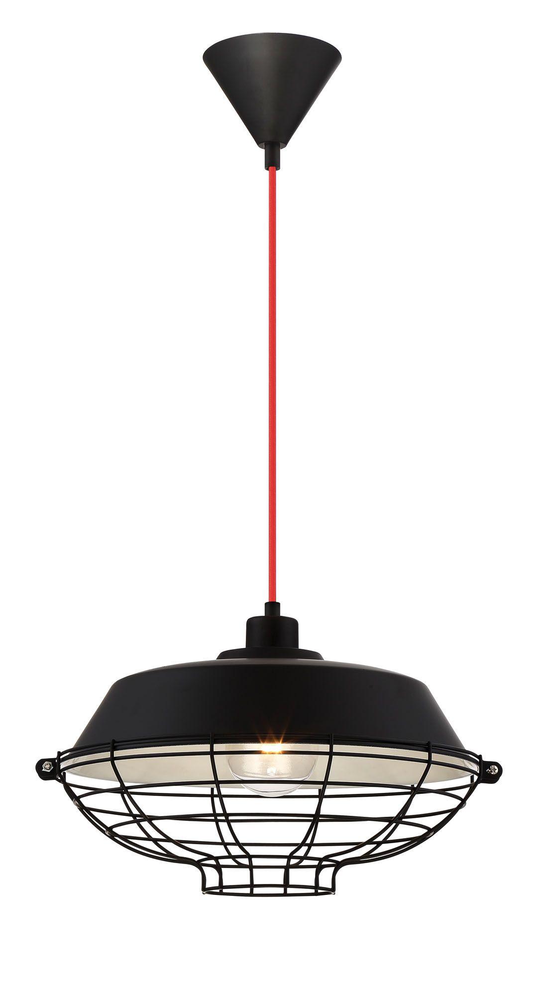 Luminaire Suspendu LONDON 1 lumi¨re fini noir avec fil rouge