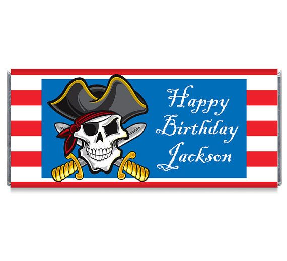Set of 12  Pirate Skull Birthday Party Candy by TheWrapperPress