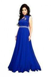 Blue Color Georgette Velvet Gown
