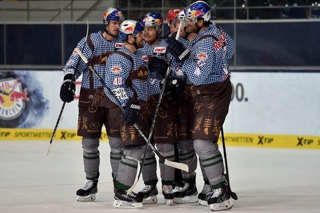 Red Bull Munchen Celebrate Oktoberfest With Fantastic Lederhosen Inspired Uniforms Photo Lederhosen Hockey Uniforms Hockey News