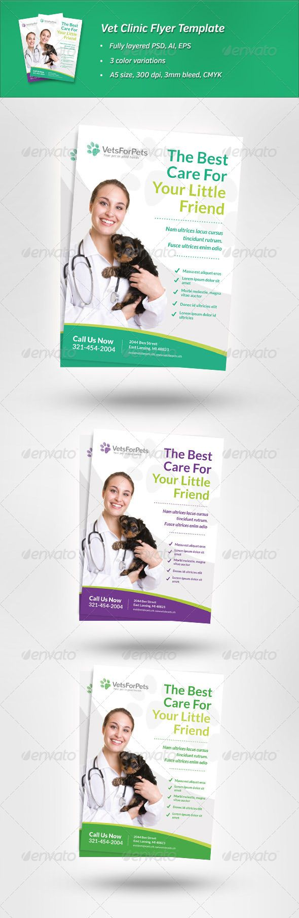 vet clinic flyer template this image is available on graphicriver clean and modern flyer to promote veterinarian clinic animal hospital