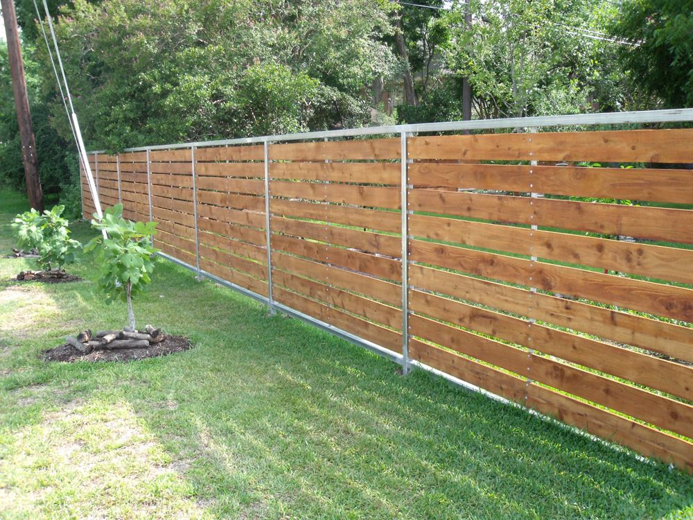 Wood and aluminum fence pinteres for Wood privacy fence ideas