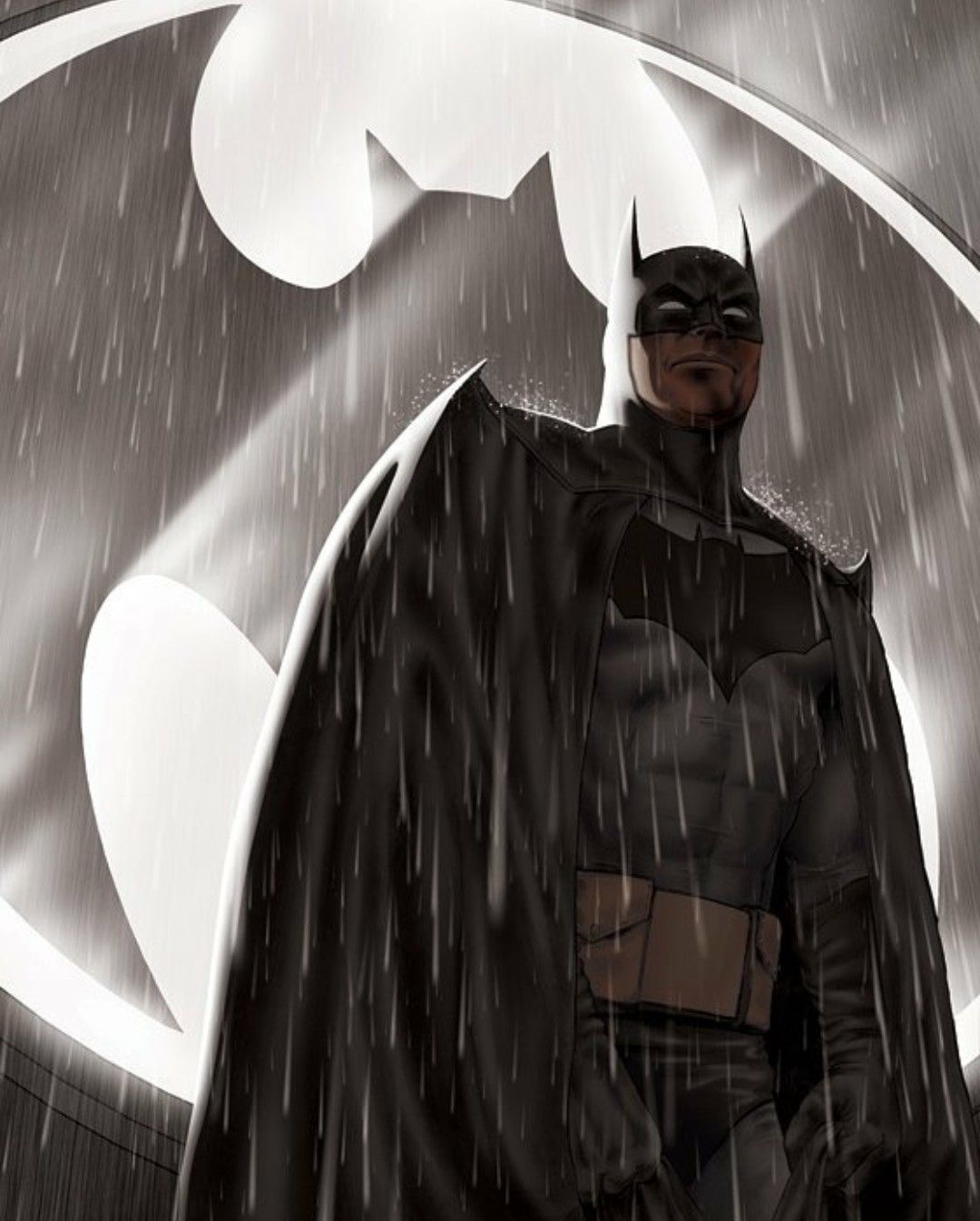 Batman In The Rain Standing In Front Of The Bat Symbol Youre My