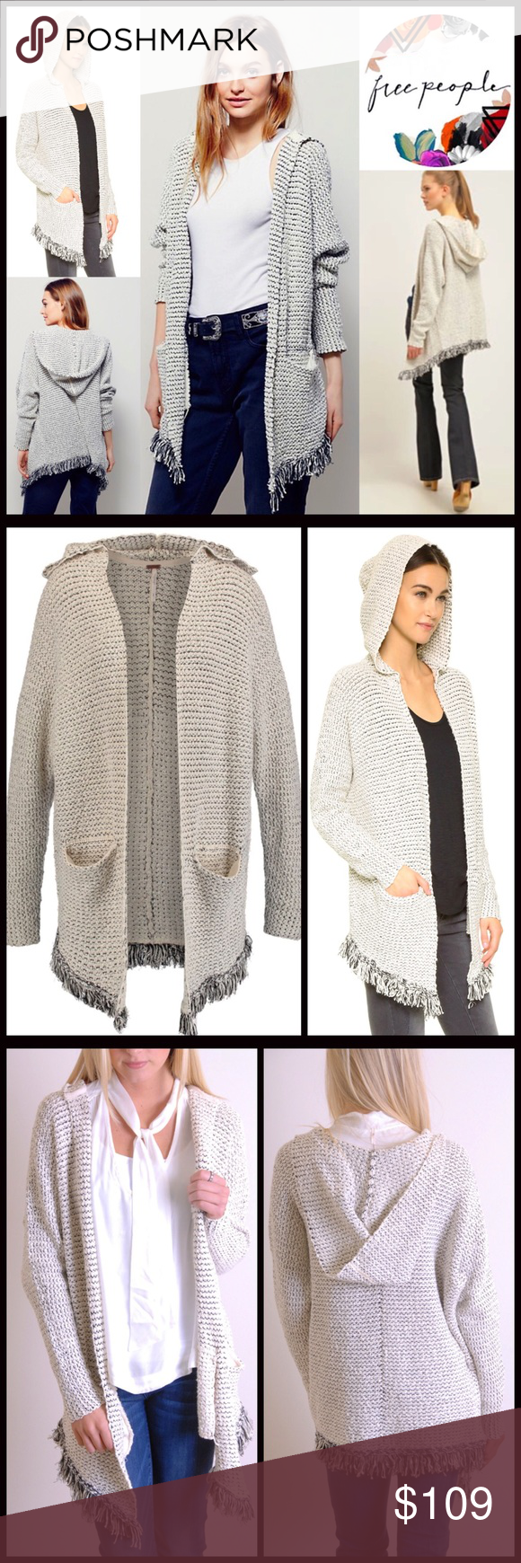 "FREE PEOPLE Long Hooded Cardigan 💟NEW WITH TAGS💟 RETAIL PRICE: $128  FREE PEOPLE Long Cardigan Coat Fringe Hem  * Attached hood  * Open front; Super soft & stretch-to-fit fabric  * Long sleeves w/banded cuffs  * 2 front welt pockets  * Frayed tassel fringe trim   * Approx 28-36"" long, hi lo hem   Fabric: Cotton, ramie, nylon, 1% spandex Color: Cream combo Item#F98900 SEARCH WORDS # slouchy oversized boyfriend loose knit Cardi tassel jacket marled love me tender cape 🚫No Trades🚫 ✅ Offers…"