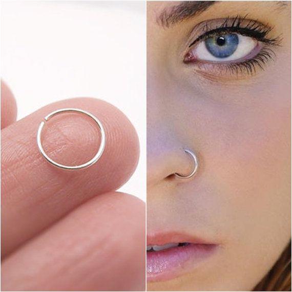 20g Fake Nose Ring Simple Nose Hoop Silver Septum Nose Cartilage