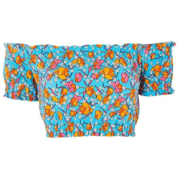 4274aab39aa TopShop Floral Print Gypsy Shirred Crop Top ($5) ❤ liked on Polyvore  featuring tops