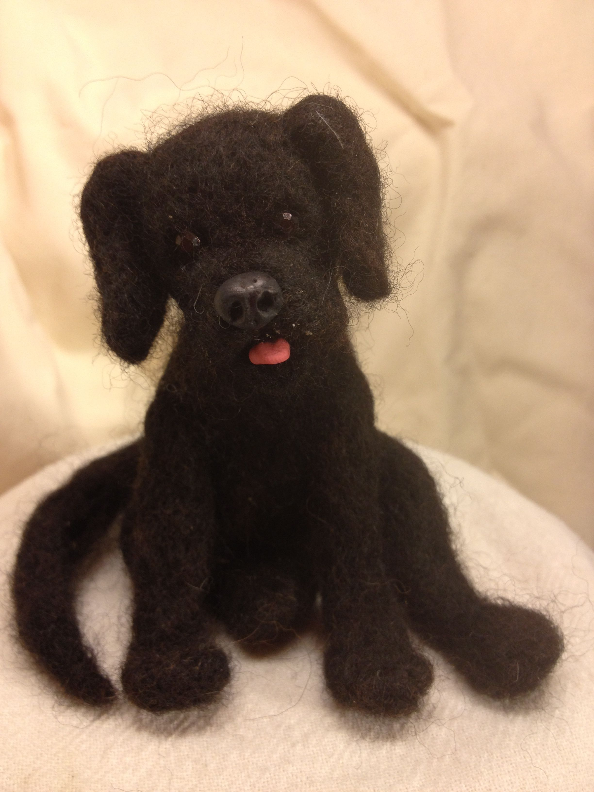 Cute Black Lab puppy that i needle felted