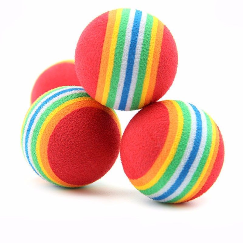 Hot Sale 2 Pieces Colorful Pet Cat Kitten Soft Foam Rainbow Play Balls Activity Toys Funny