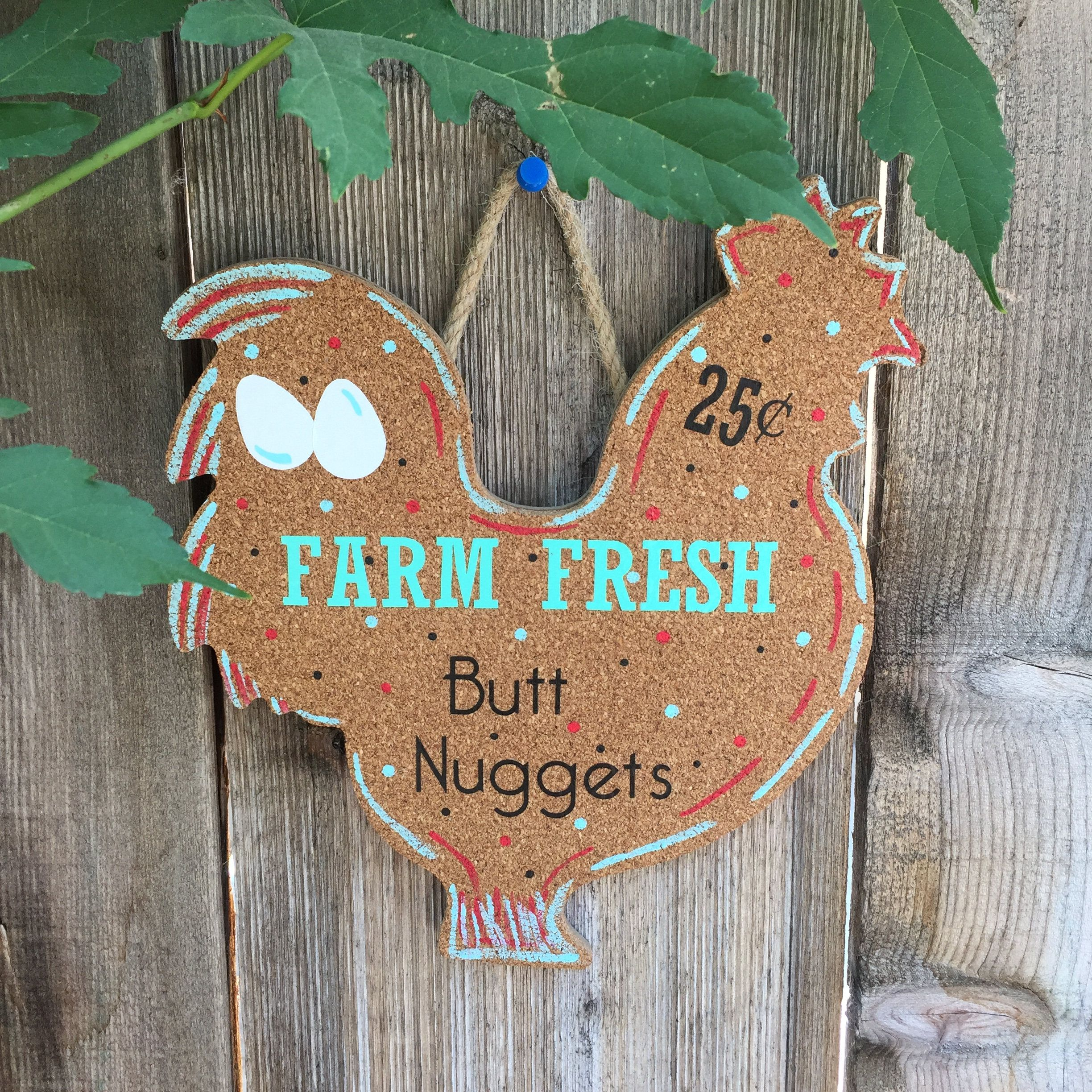 chicken decor for kitchen seat covers chairs farm fresh butt nuggets sign wall