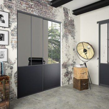 Lot De 2 Portes De Placard Coulissante Miroir Noir L180 X