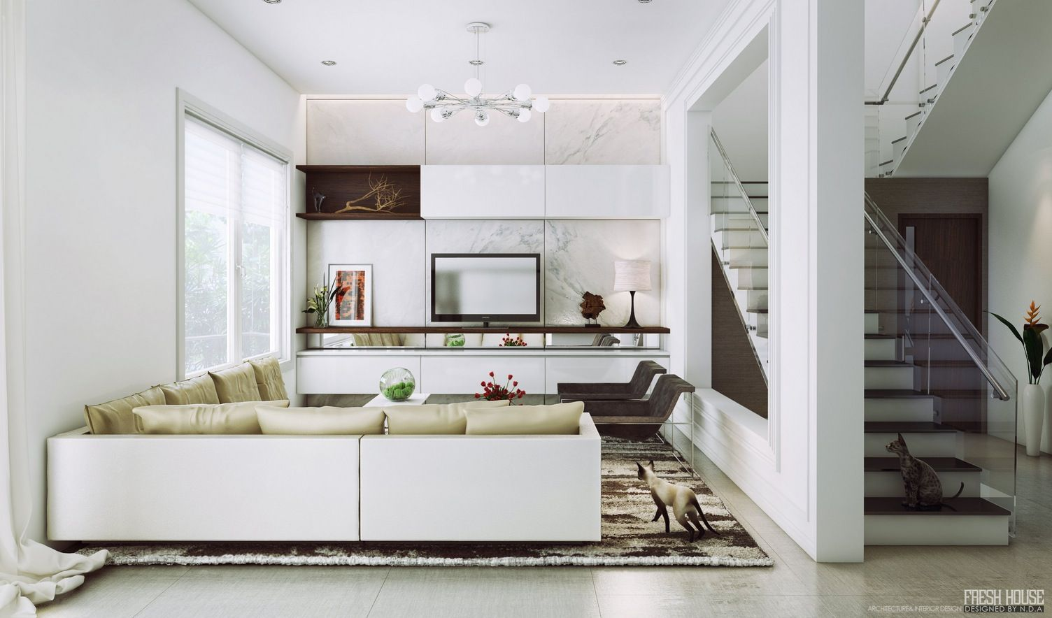 Contemporary White Living Room Furniture How To Decorate A With No Fireplace Black Beige Grey Marble On The Floor
