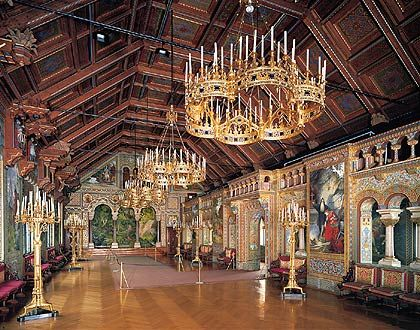 Neuschwanstein Castle near Fussen, Bavaria, Germany. This is the Singers' Hall.  Just as with most every other room in the castle: gorgeous!