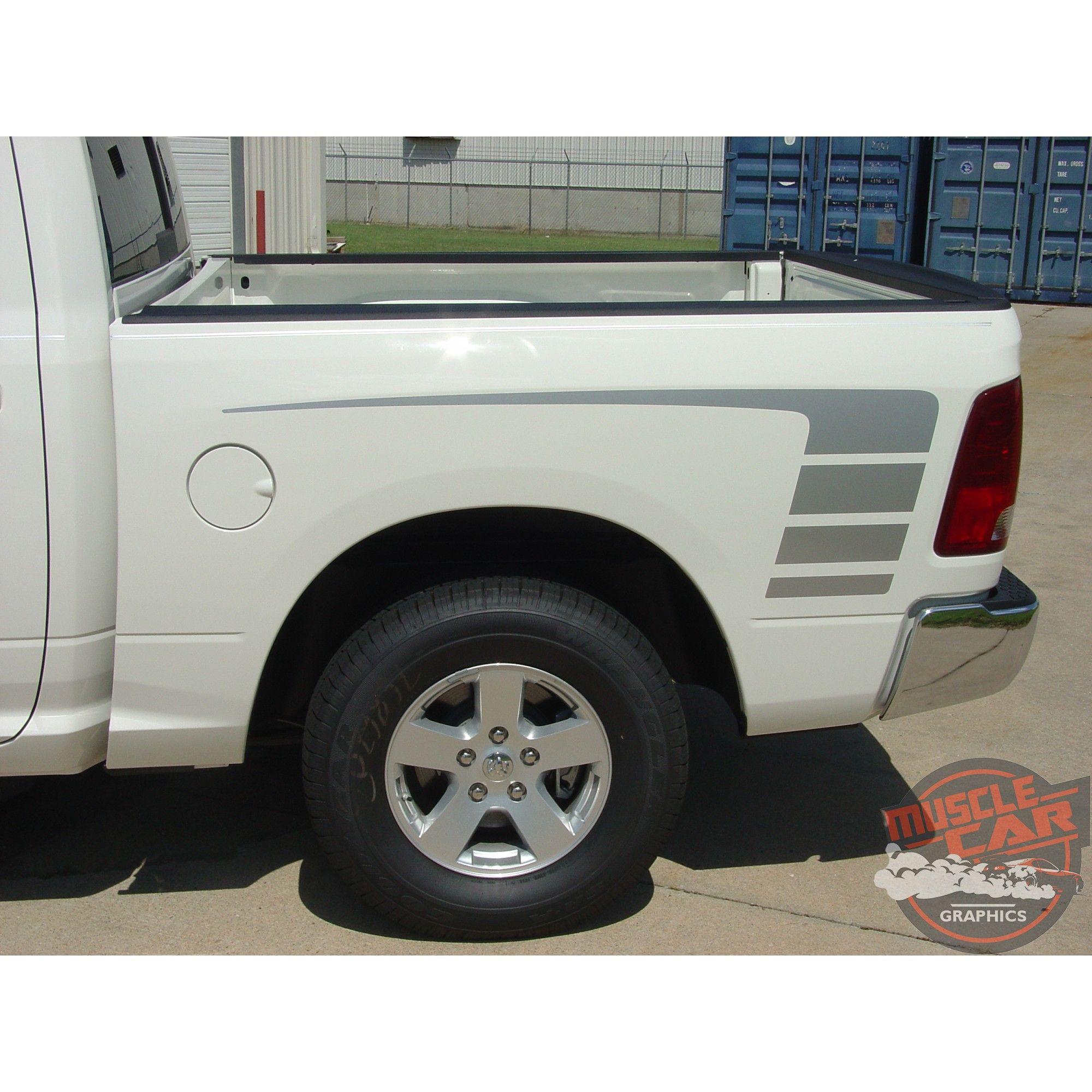 Power Strobe Hood Bed Side Vinyl Graphics Decal Stripes for 2009-2018 Dodge Ram