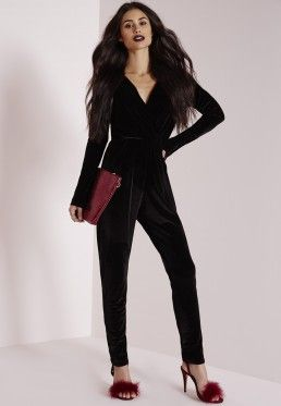Velvet Wrap Jumpsuit Black