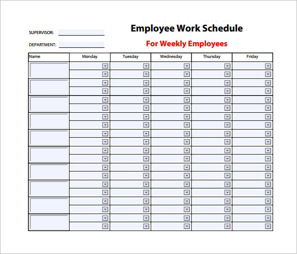 Weekly Work Schedule Template - 8+ Free Word, Excel, Pdf, Format - work schedule