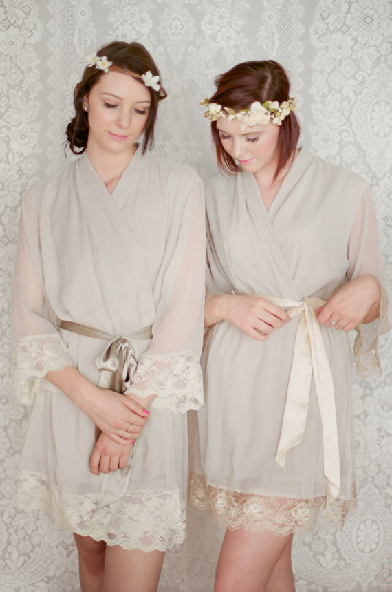 WOODSMOKE. 4 custom lace trimmed lined chiffon robes in a knee ...