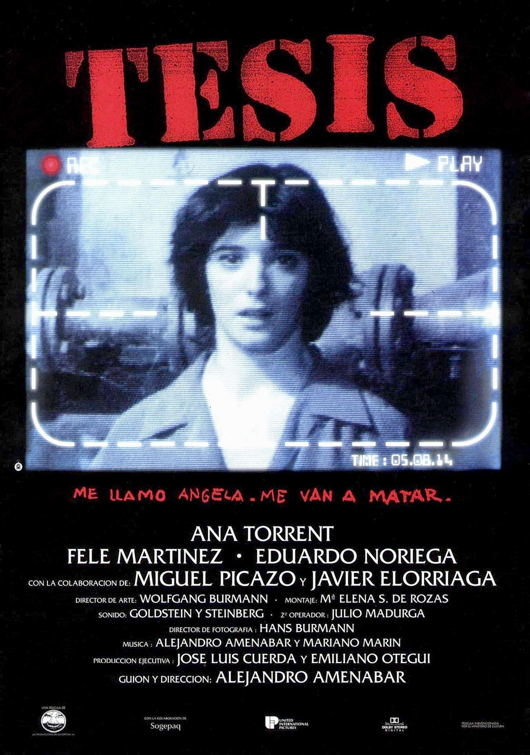 thesis amenabar Tesis, igrani, triler, španjolska, 1996 režija: alejandro amenábar teza  uloge: ana torrent (ángela), fele martínez (chema), eduardo noriega (bosco .