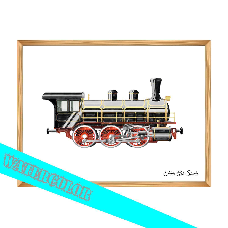 Steam Locomotive Print Watercolor Print Digital Clipart