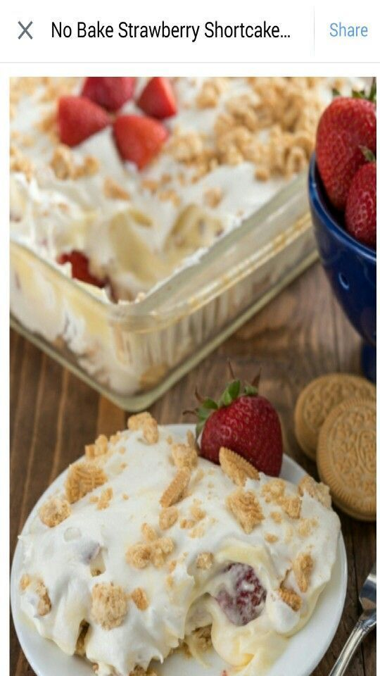 bake white oreo shortcake This easy recipe is totally foolproof. Just a few layers and a few ingredients gets you a strawberry shortcake dessert that's unique and no bake. The shortcake comes from crushed Golden Oreos. Shortbread would also be amazing. Crush the cookies and line the pan with them. Mix up some instant vanilla p...   - strawberries -