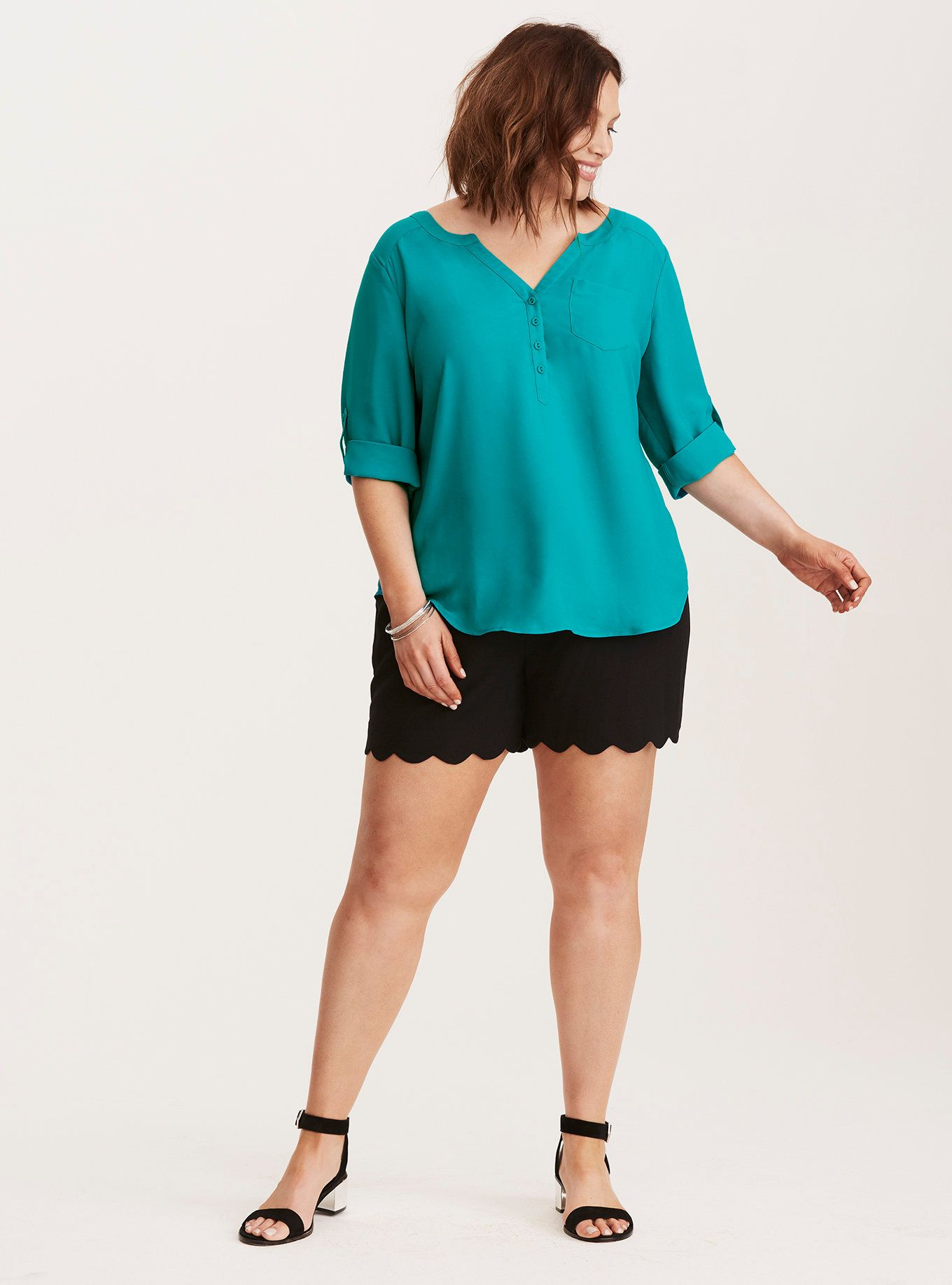 Georgette One Pocket Pullover Blouse,