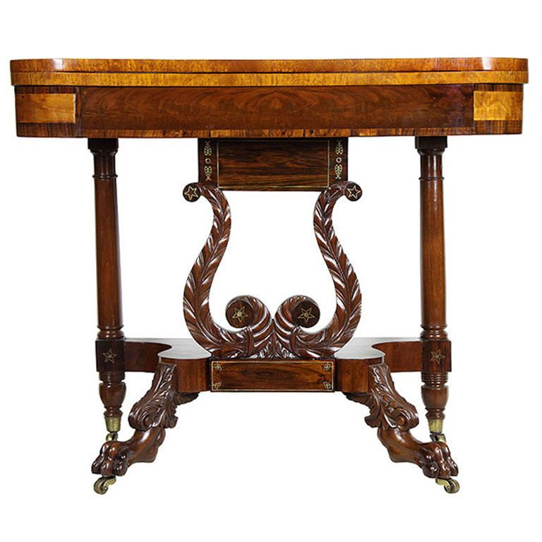 Classical Carved Mahogany Lyre Card Table, NY,ca 1815 - Classical Carved Mahogany Lyre Card Table, NY Game Tables