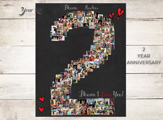 2 YEAR ANNIVERSARY, 2nd Anniversary Gift Photo Collage
