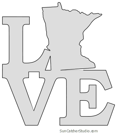 Minnesota Map Outline Printable State Shape Stencil Pattern Scroll Saw Patterns Scroll Saw Woodworking Patterns