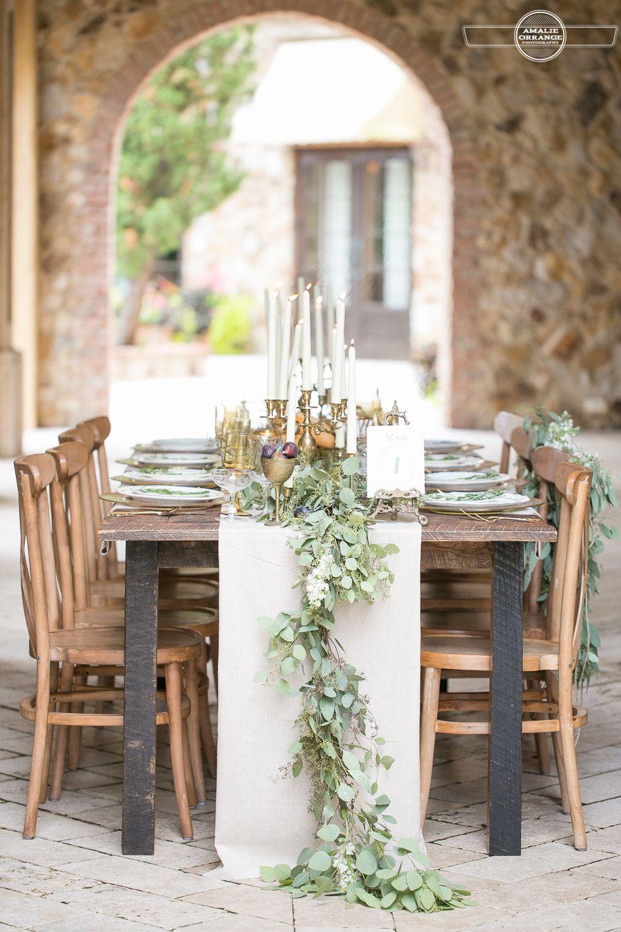 Tuscan inspired wedding table Bella Collina wedding www ...
