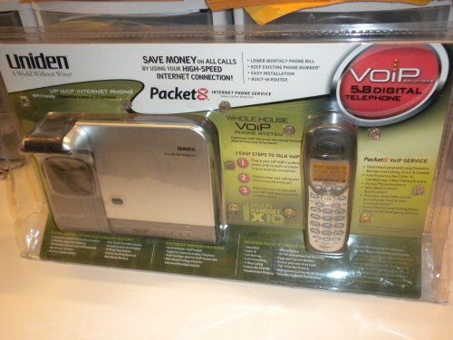 Uniden UIP160P voice-over-Internet Protocol (VoIP) telephone, Packet by Packet8. $114.98. 8x8 Uniden UIP160P Phone Sytem with Built-in Broadband Adapter  The Uniden Whole House VoIP Phone System UIP160P makes setting up and using 8x8 Internet Phone Service a snap - just plug the Ethernet cable from your broadband modem into the base station, configure the built-in router and you're ready to go.  Sleek and attractive, the Whole House VoIP Phone looks good at home or in ...