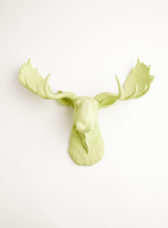LOVE IT!!!! Faux Moose Head - The Nico - Mint Green Resin Moose Head ...