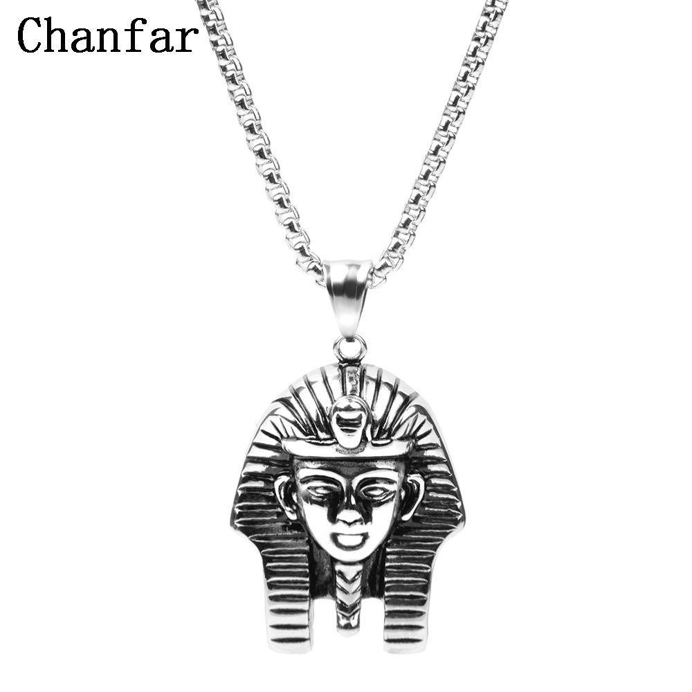 Vintage egyptian pharaoh head pendant necklace men metal long chain